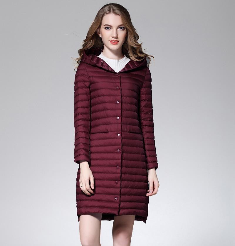 파카 코트 여성 화이트 오리 롱 자켓 여성 후드 울트라 라이트 패딩 자켓 겨울 롱 코트 패션 파커 솔리드-에서다운 코트부터 여성 의류 의  그룹 1
