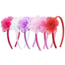 Candygirl 6 Colors Soft Big Flower Headband for Girls Kids Chiffon Hair Hoops with Sequin on Side Fabric Floral Accessories