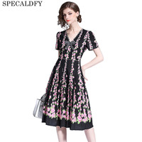 High Quality Designer Runway Dress Women Short Sleeve Floral Elegant Dress Summer Brand Casual Dresses Vestidos