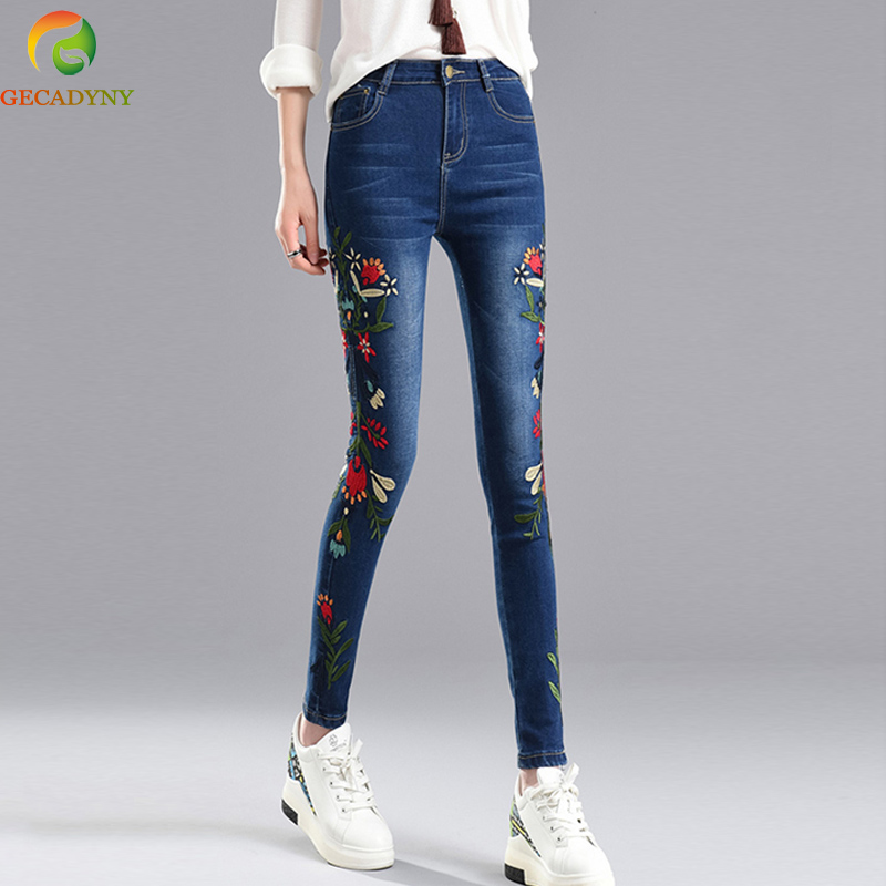 Women Stretch Embroidered Jeans For Women Elastic Flowers Jeans Female Denim Pencil Pants Girls Pantalon Femme Plus Size S-4XL rosicil new women jeans low waist stretch ankle length slim pencil pants fashion female jeans plus size jeans femme 2017 tsl049