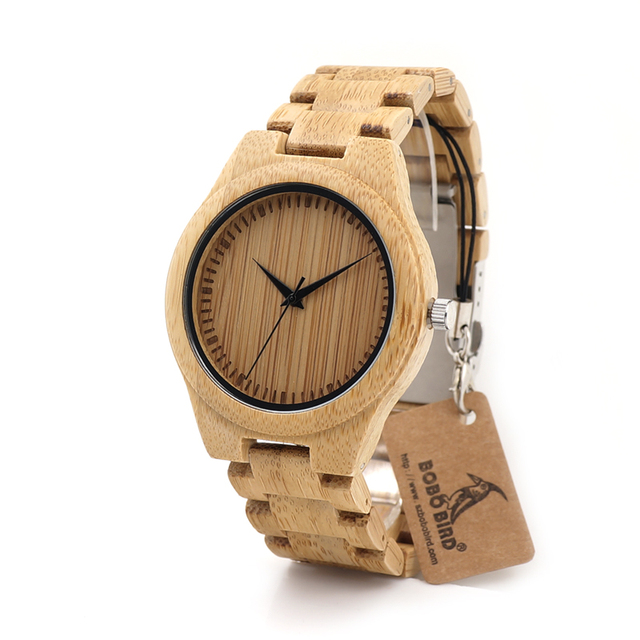BOBO BIRD D19 Couples Bamboo Wooden Watch with Wood Strap Quartz Analog with Quality Miyota Movement Tri-Fold Clasp
