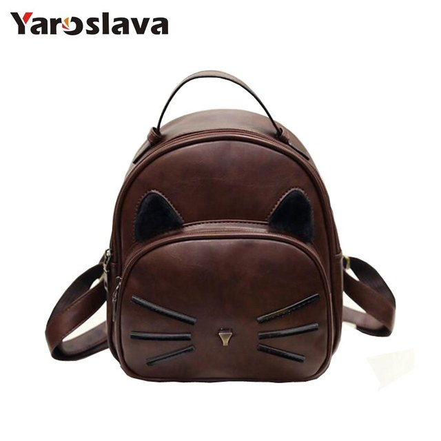 64ff3a25e25d US $12.99 40% OFF|Women Cat Ear Design Vintage PU Leather Backpack Cute  Cats Backpacks For Teenage Girls School Bags Small Black Back Bag LL23-in  ...