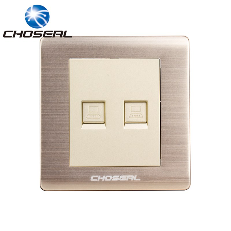 Choseal QD4902 RJ45 Computer Socket Network Socket Two Ports Aluminium Alloy Wall Mount Outlet Plate For Home Network Decorating