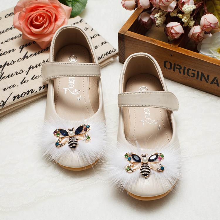 Girls Leather Shoes Autumn Cute Cartoon Bee Kids Girls Princess Shoes Soft Sole flat Sneakers Girls Breathable Single shoes