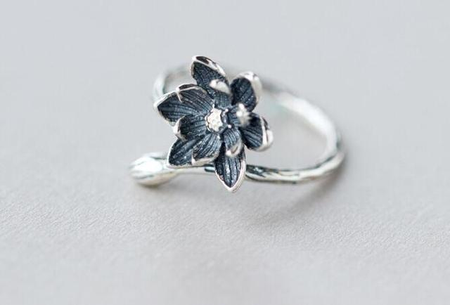 Oly2u 2018 Lotus Flower Ring For Women Retro Style Ring Flower Adjustable Open L