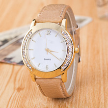 Cindiry Rhinestones Women Lady Wristwatch Simple Watch Top BrandQuartz Retro Gift Faux Leather Band P0.25