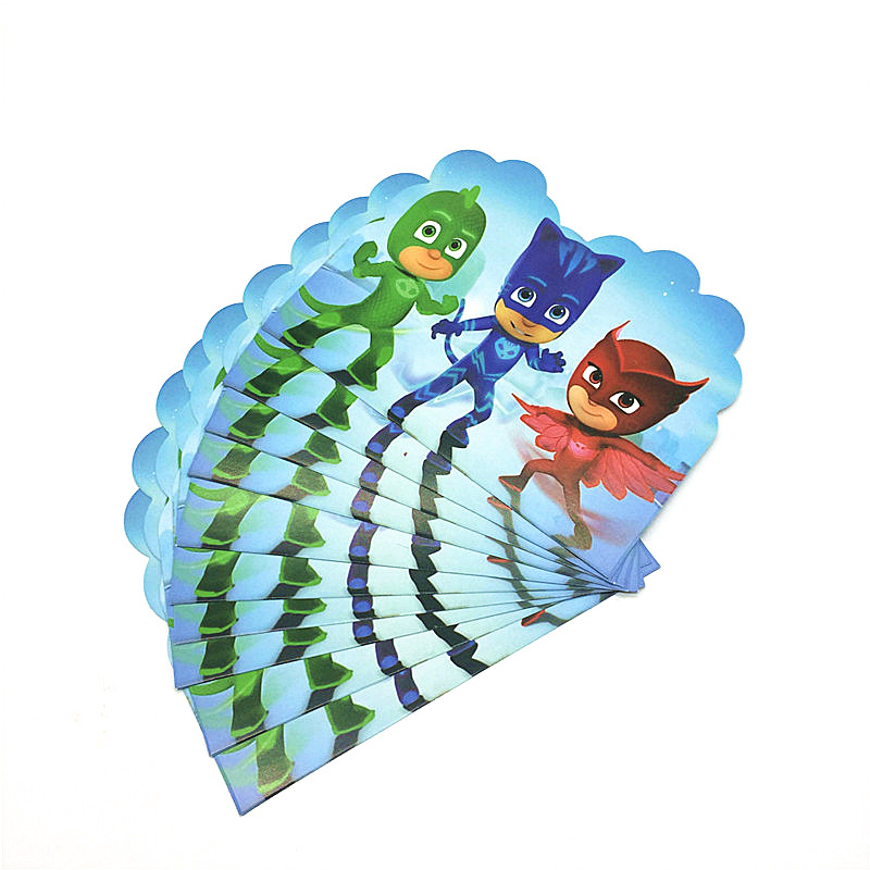 Cartoon Pj Masks 10pcs/lot Happy Birthday party Invitation Card Childrens Birthday Party Decorations Kids Festival Supplies