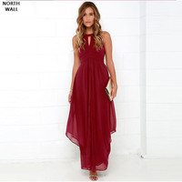 North Wall Summer Dress Woman Long Elegant Irregular Chiffon Dress Backless Sexy Dress Maxi Dress