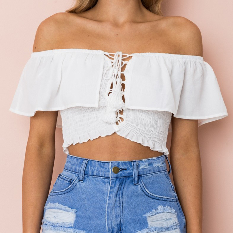 Ruffles Lace up tassel off shoulder camisole tank top women 2018 summer streetwear ruched elastic beach white crop top tee CT024