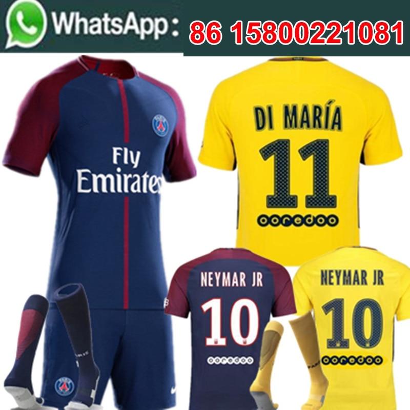 buy online ae32a cb6cf Free shipping Soccer jersey Adult PSG Neymar Cavani 3RD black kit short  camisetas de futbol 2017 2018 High quality set-in T-Shirts from Men's  Clothing ...