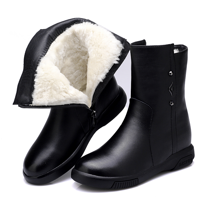 2018 Women's Boots Ankle Boot Genuine Leather Wool Warm Winter Boot Ankle Boots For Women Flat Fur Fashion Black Ladies Shoes pritivimin fn81 winter warm women real wool fur lined shoes ladies genuine leather high boot girl fashion over the knee boots