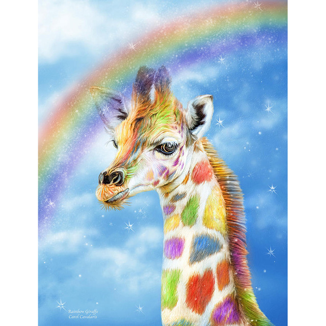 3D DIY Diamond Embroidery Cross Stitch Kits Crafts Color Giraffe Painting Square Full Drill Needlework in Diamond Painting Cross Stitch from Home Garden