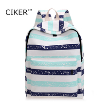 Ciker adrette frauen leinwand rucksack mode mochila rucksack schultasche streifen frauen rucksäcke für teenager mädchen bookbag