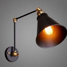 Loft lámpara de pared de hierro Retro iluminación vintage lámpara de pared interior Industrial Americano iluminación elevación polea luz de pared