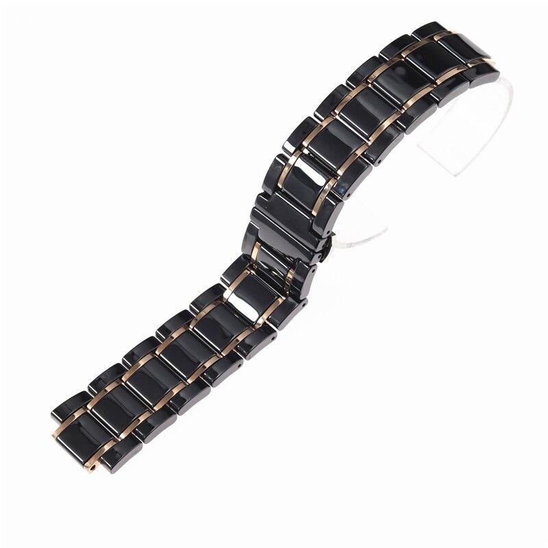 Bracelet en céramique de luxe 24mm pour bracelet de montre en céramique GUESS GC noir blanc clair plus bracelet de montre en céramique en acier inoxydable - 6