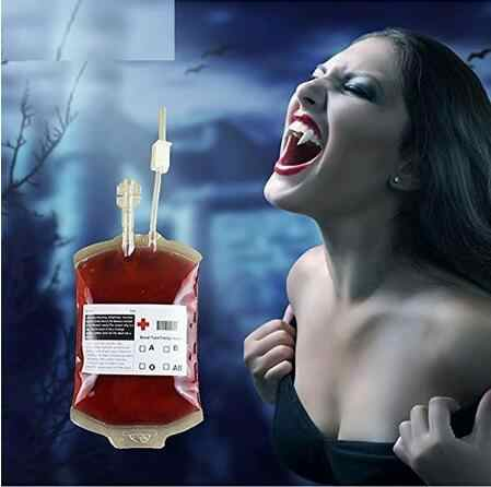 350ml Halloween Prop Blood Drink Container Drinking Bag, Fruit Juice Blood Drinking Pack Beverage Bag Free Funnel MT143