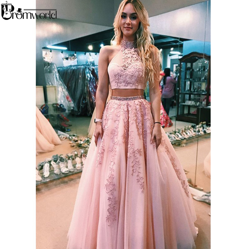 A Line Lace Pink Two Piece Prom Dresses Long Halter Neck Beaded Tulle Open Back Prom Gown Evening Dress 2019 Robe De Soiree