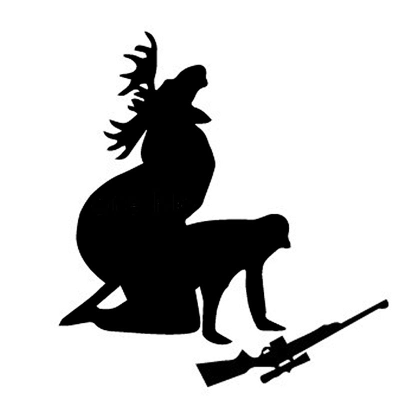 13*12CM Elk Hunter Personalized Car Stickers Decals How Ya Like My Meat Now Funny Moose Hunting Hunter Black/Silver CT-600