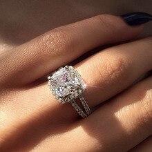 IPARAM New Silver White Zircon Engagement Ring Female Square Geometry AAA Zircon