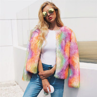 LANSHIFEI China Made Yarn Dyed Color Faux Fox Fur Parka Coat Woman Winter Imitation Furry Fur Overcoat Fluffy Fur Short Jacket