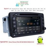2 Din Android 9,1 автомобильный dvd радиоплеер автомобильный стерео gps navi для Benz W203 W208 W209 W210 W463, Вито, виано, с поддержкой Wi Fi bt swc dab + obd