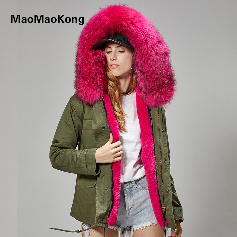 MAO KONG 100% Real Raccoon Fur Collar winter fur coat Women camouflage black parkas & cotton faux jacket