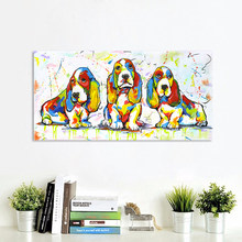 HDARTISAN Wall Art Canvas Painting Animal Picture Posters Prints Cute Dog Puppy Home Decor No Frame(China)