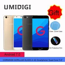 Umidigi Desbloqueado Umi G Fino Smartphone Quad Core 1.3 GHz 16G ROM 2G RAM Android 7.0 Telefones celulares Toque ID 5.0 Polegada 4G LTE 2017