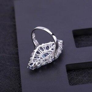 Image 3 - Mücevher bale çok renkli doğal Sky Blue Topaz mistik kuvars kokteyl yüzük kadınlar için 925 ayar gümüş taş yüzük takı