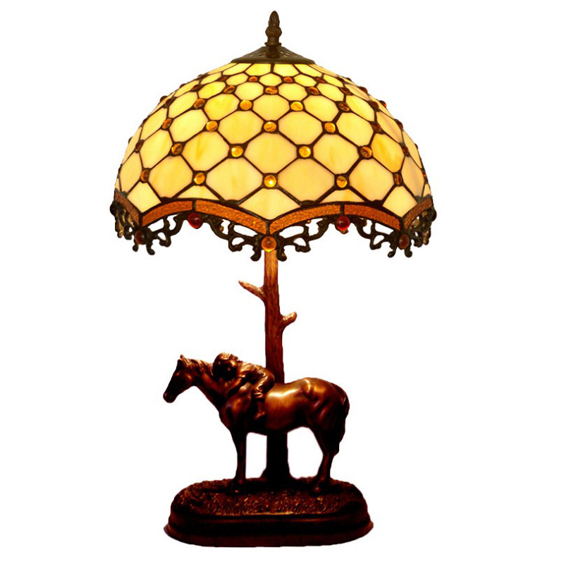 Antique Stained Glass Elephant Rose Horn Night Decorative Chinese Vintage Table Lamp Light For Living Room Bedroom 110V 220V