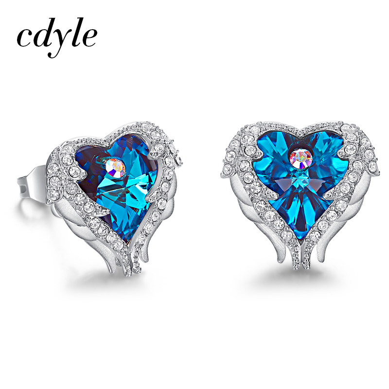 Cdyle Crystals from Swarovski Earrings Luxury Blue Purple Fashion Jewelry Elegant Sexy Heart Stud Earrings For Women Wedding