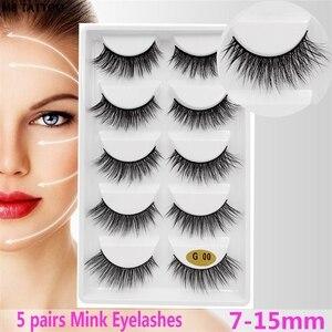 Image 2 - 새로운 3D 5 쌍 밍크 속눈썹 확장 메이크업 자연 긴 거짓 가위 가짜 눈 속눈썹 밍크 메이크업 도매 faux cils