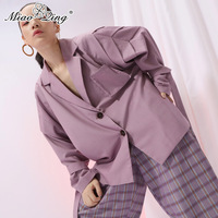 MIAOQING 2018 Oversized Blazers for Women Sexy Blazer Befree Vintage Single Breasted Bandage Clothes Ruffle Plus Size Female Top