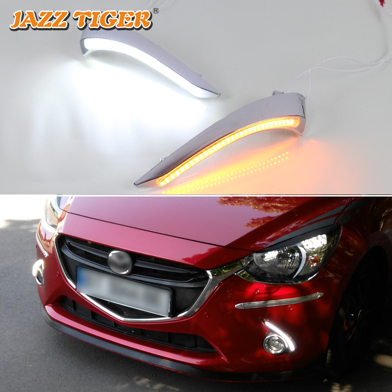 JAZZ TIGER Yellow Turning Function Glossy Chromed ABS Cover 12V Car DRL LED Daytime Running Light For Mazda 2 2015 2018 2019