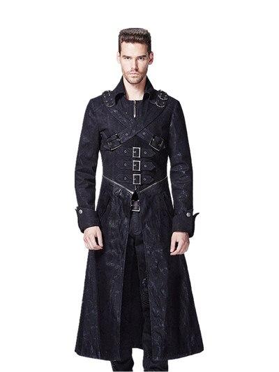 Punk hommes Long manteau croix boucle pardessus décontracté col rabattu hiver manteau gothique hiver Trench manteaux Outwear