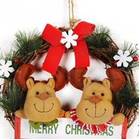 Merry Christmas Wreath Decorations Door Wall Ornament Christmas Wreath Garland 30cm Decoration Red Bowknot 5O1123