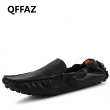 QFFAZ New High Quality Men Shoes Arrival Genuine Leather Men Casual Shoes Fashion Driving Slip On Loafers Men Flat Shoes