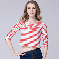 2017 Fashion Women tops sex Sweet Striped t-shirt summer O-neck long sleeve crop top short t shirt women tee shirt femme KM33