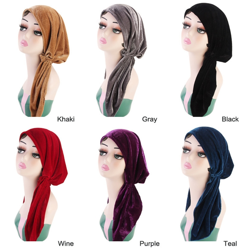 Women Turban Cap Velvet Pre-Tied Headscarf Muslim Beanie Hat Solid Color Pleated Hat Hair Accessories