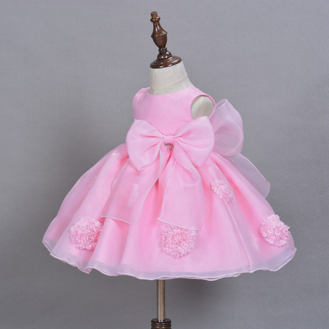 112bc7a905d6 Baby Girl Dress Princess 3D Flower   Big Bow Infant Party Dress ...