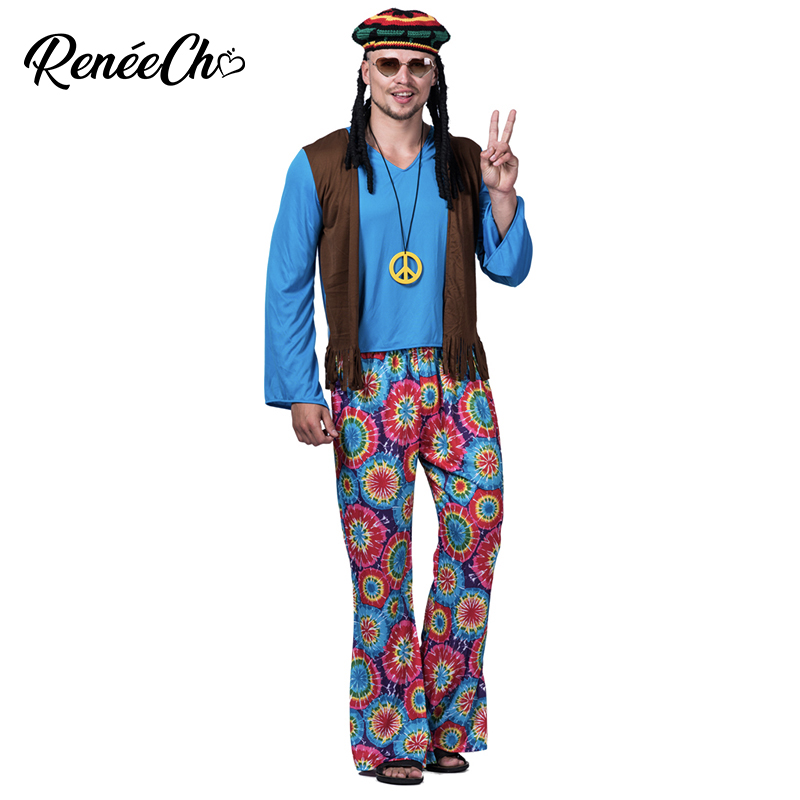 2019 Halloween Costume For Men Peace & Love Costume Adult Hippie Costume Flower Cosplay For Carnival Party Wear T Shirt Pant Set