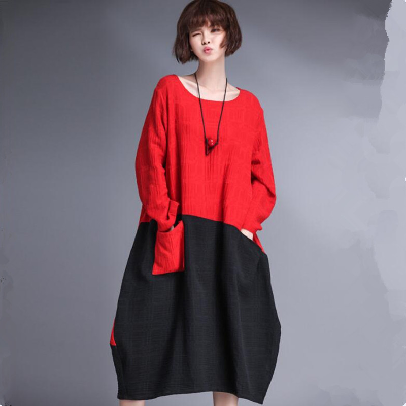 US $26.99 |Plus size dress 2019 Spring Summer women long sleeve cotton  linen dress,black red patchwork Asymmetric dress M 5XL 6XL Vestidos-in  Dresses ...