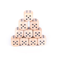 10Pcs/lot Party Game Wood Dice 6 Sided Dice 16mm number or point Cubes Round Coener Kid Toys Game(China)