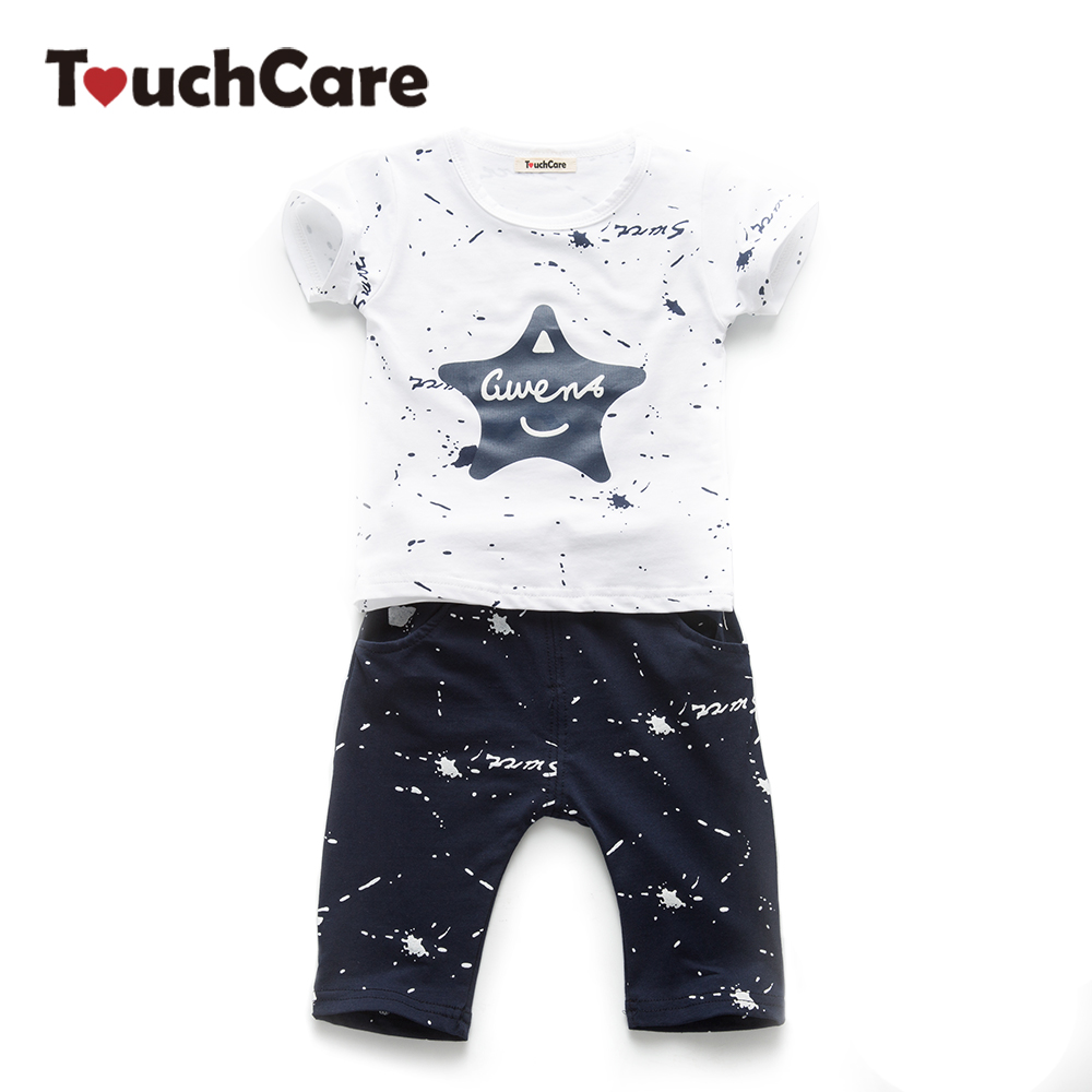 TouchCare 2Pcs T-shirt+Pants Baby Boy Girl Clothing Set Infant Stars Printed Short Sleeve Clthes Casual Candy Color Kids Clothes infant baby boy girl 2pcs clothes set kids short sleeve you serious clark letters romper tops car print pants 2pcs outfit set