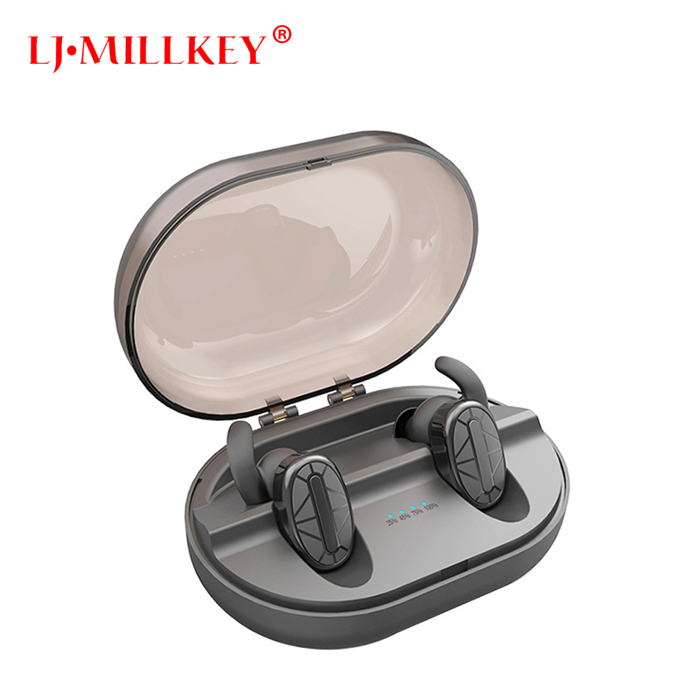 TWS Bluetooth Earphone Earbuds Control Hifi Stereo Wireless Microphone for Phone With Charger Charging Box Mini LJ-MILLKEY YZ154