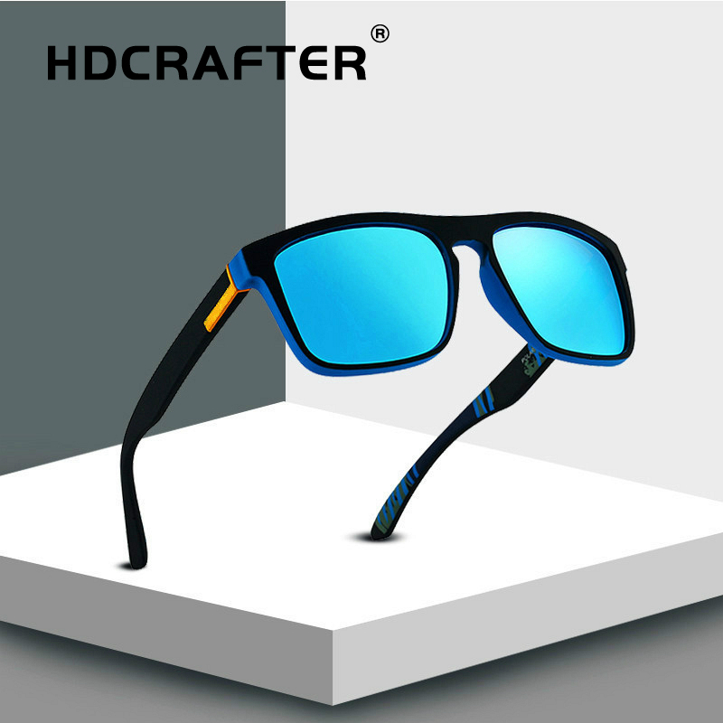 HDCRAFTER Polarized Sunglasses Men Driving Sun Glasses Square Brand Design Retro Vintage Sunglasses Eyewear Accessories UV400