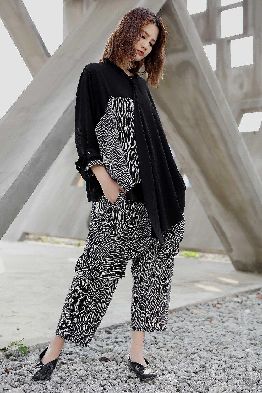 Deux Printemps Rayé Et Femme Haut 2019 Nouveau D'été Pantalons Pièces Personnalité Grande Ensemble Black Taille Asymétrique Suspendus qwORCHE