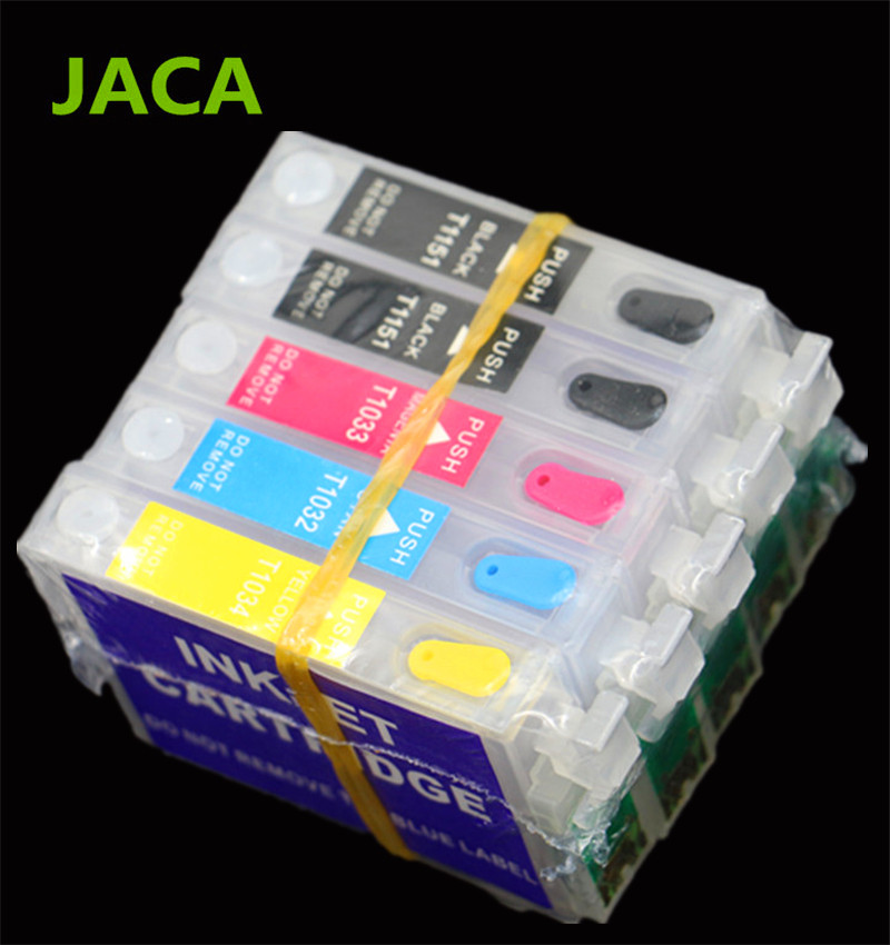 все цены на 5PCS Refillable Ink Cartridge For Epson T1110 TX515FN Printer For T1151 T1151 T1032 T1033 T1034 Cartridges with ARC Chip онлайн