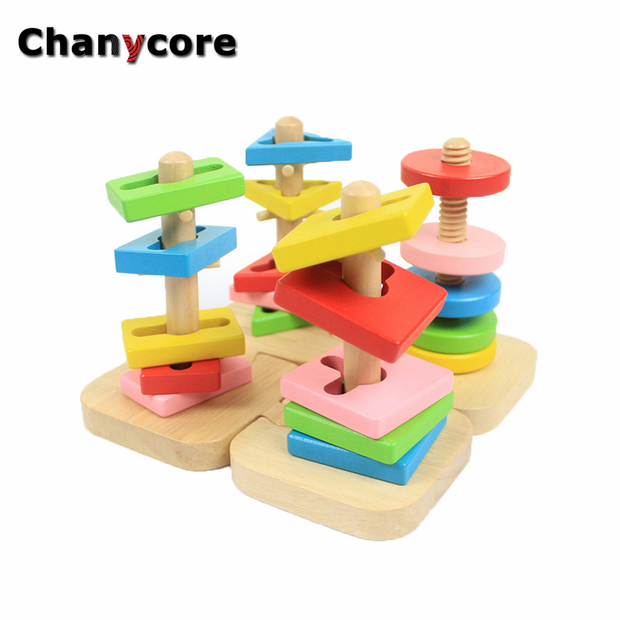 Baby Learning Educational Wooden Toys Geometric Shape Blocks Column Board Sorting Matching ww Montessori Kids Gifts 4102