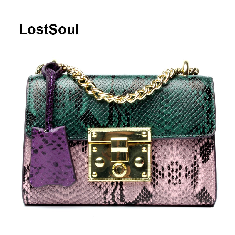 LostSoul women Bag messenger split Leather Serpentine Panelled Crossbody Bag Fashion design Shoulder Bag Chains bolsos mujer цена